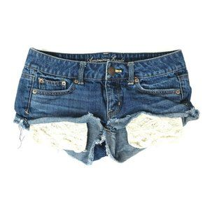 American Eagle Jean Shorts Womens 2 Frayed Hem